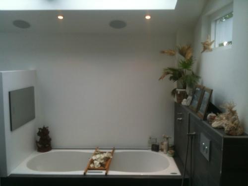 Badkamer tv voorbeelden van tevreden klanten: inbouw tv waterdichte